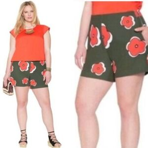 Eloquii Olive Green Coral Floral Dress Shorts